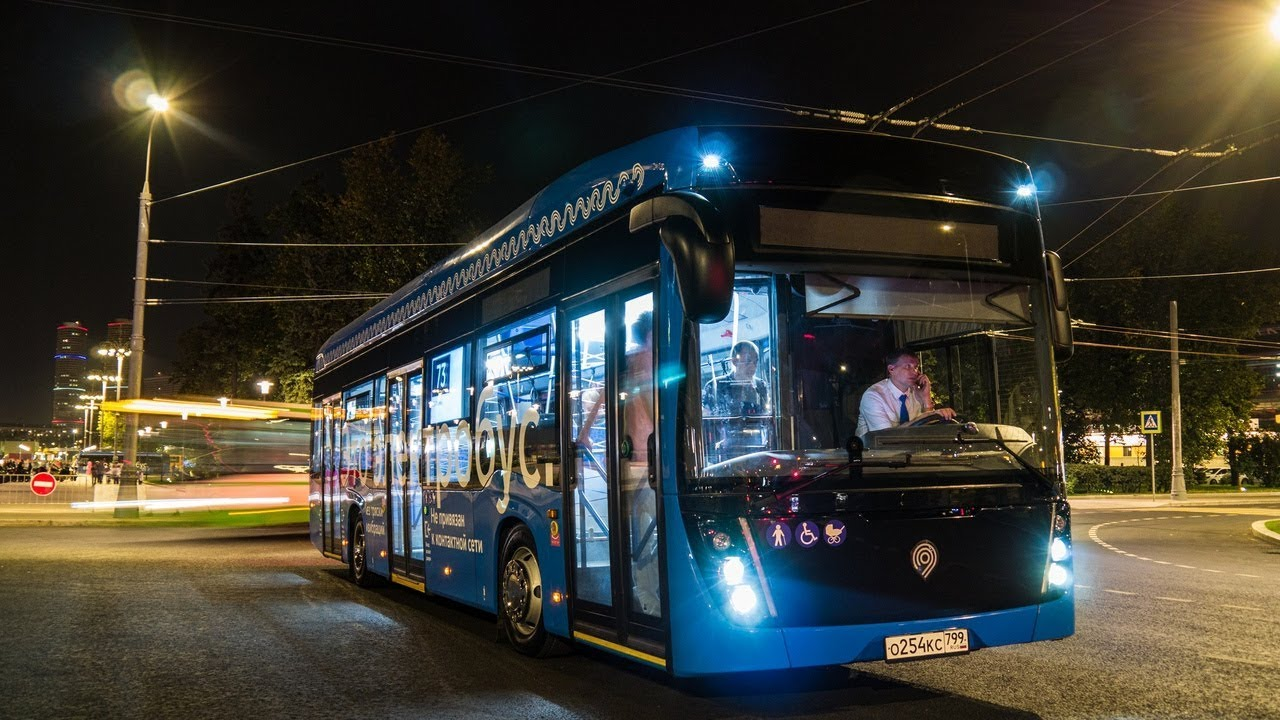 Электробусы КАМАЗ вышли на ночной маршрут